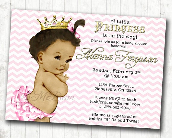 Princess Baby Shower Invitation Wording New Chevron Princess Baby Shower Invitation for Girl Pink and