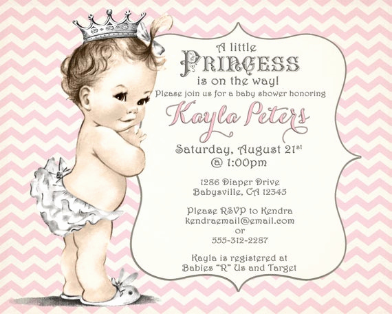 Princess Baby Shower Invitation Wording New Girl Baby Shower Invitation Chevron Princess for Girl Pink