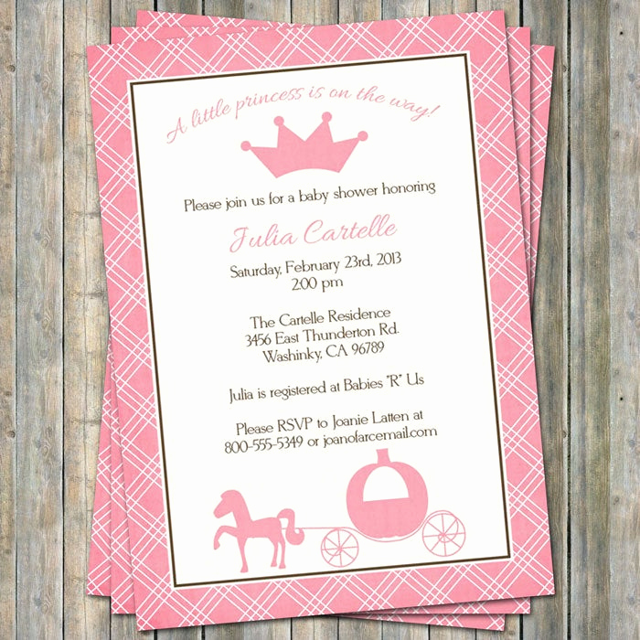Princess Baby Shower Invitation Wording New Princess Baby Shower Invitations Digital Printable File