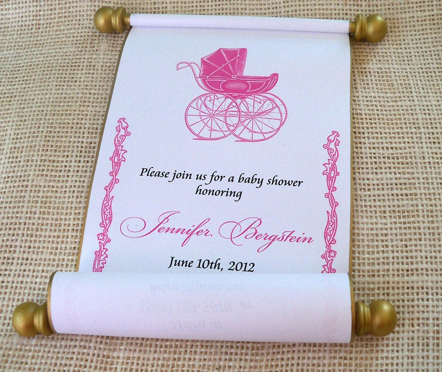 Princess Baby Shower Invitation Wording Unique Princess Baby Shower Invitation Scroll Pink by