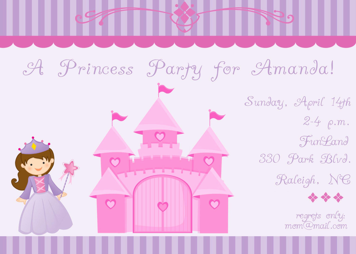 Princess Party Invitation Ideas Awesome Princess and Castle Birthday Party Invitation