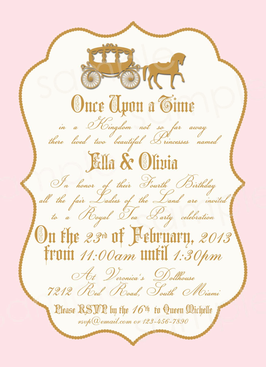 Princess Party Invitation Ideas Awesome Royal Princess Birthday Party Invitation Diy by Modpoddesigns