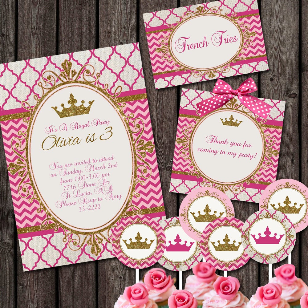 Princess Party Invitation Ideas Best Of Pink Gold Royal Princess Party Package Invitation and Custom