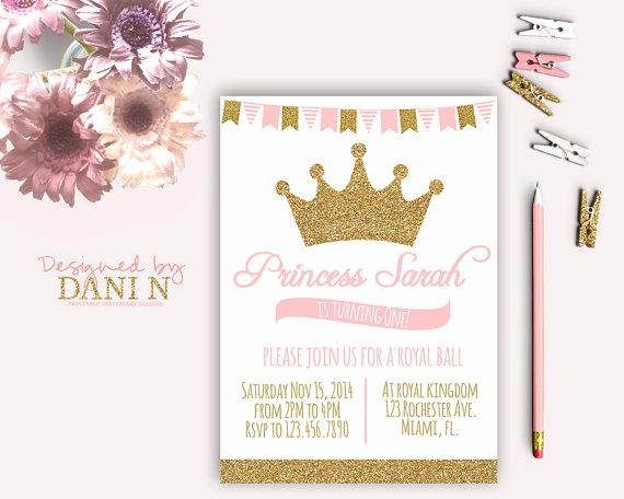 Princess Party Invitation Ideas Elegant Princess Birthday Party Invitation Glitter Sparkle Printable