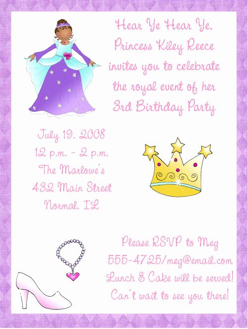 Princess Party Invitation Ideas Fresh African American Birthday Invitations Ideas – Bagvania