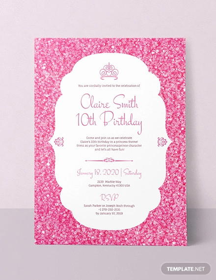 Princess Party Invitation Template Awesome 70 Birthday Invitation Designs & Examples Psd Ai