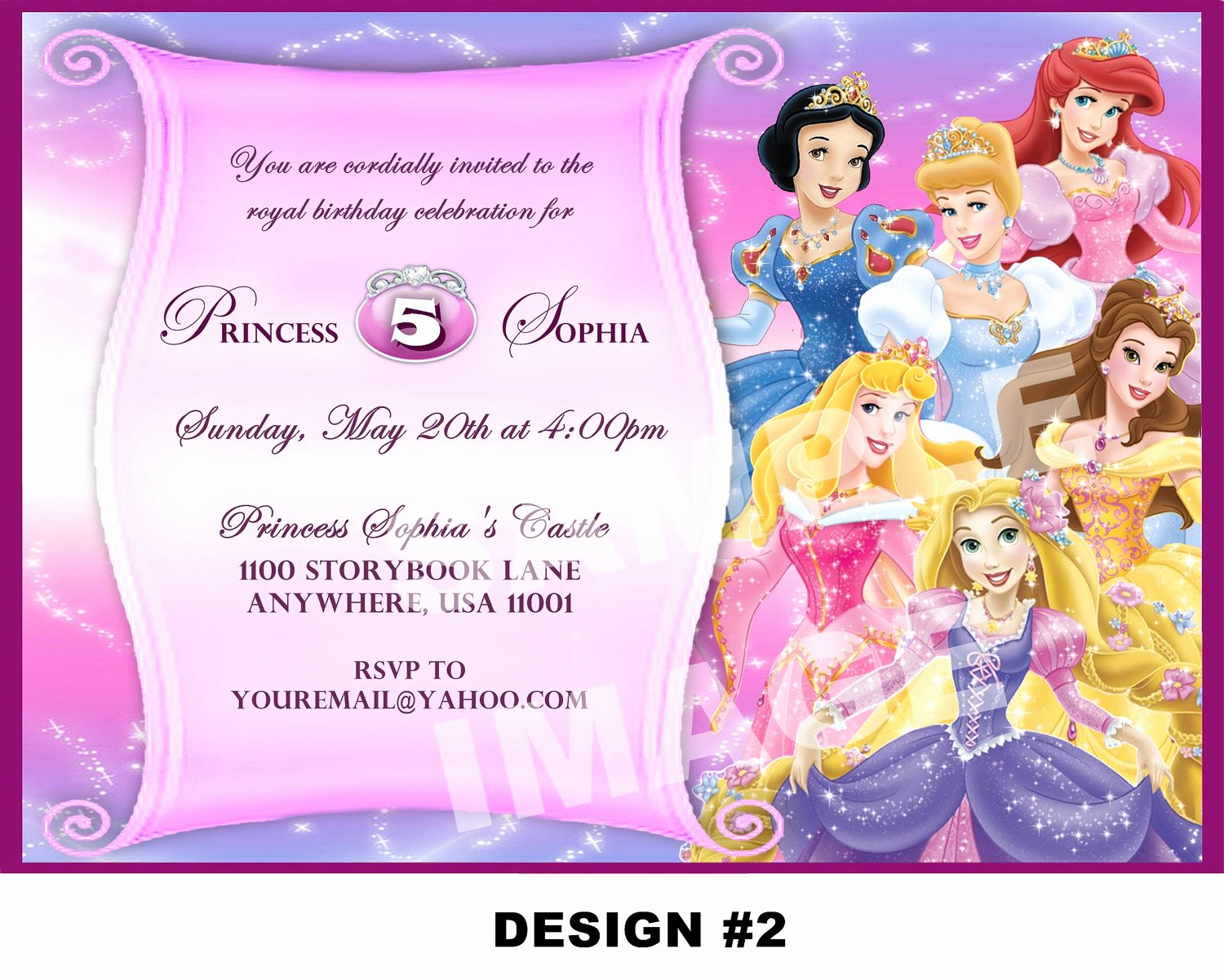 Princess Party Invitation Template Awesome Disney Princess Birthday Invitation Card Maker Free