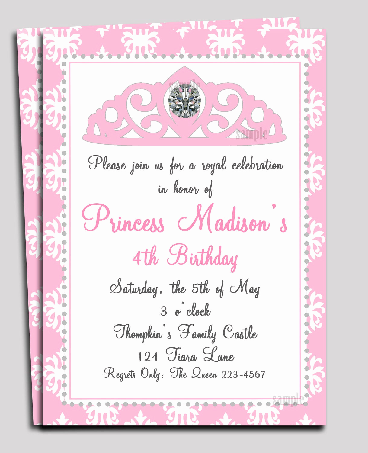 Princess Party Invitation Template Awesome Princess Invitation Printable or Printed with Free Shipping