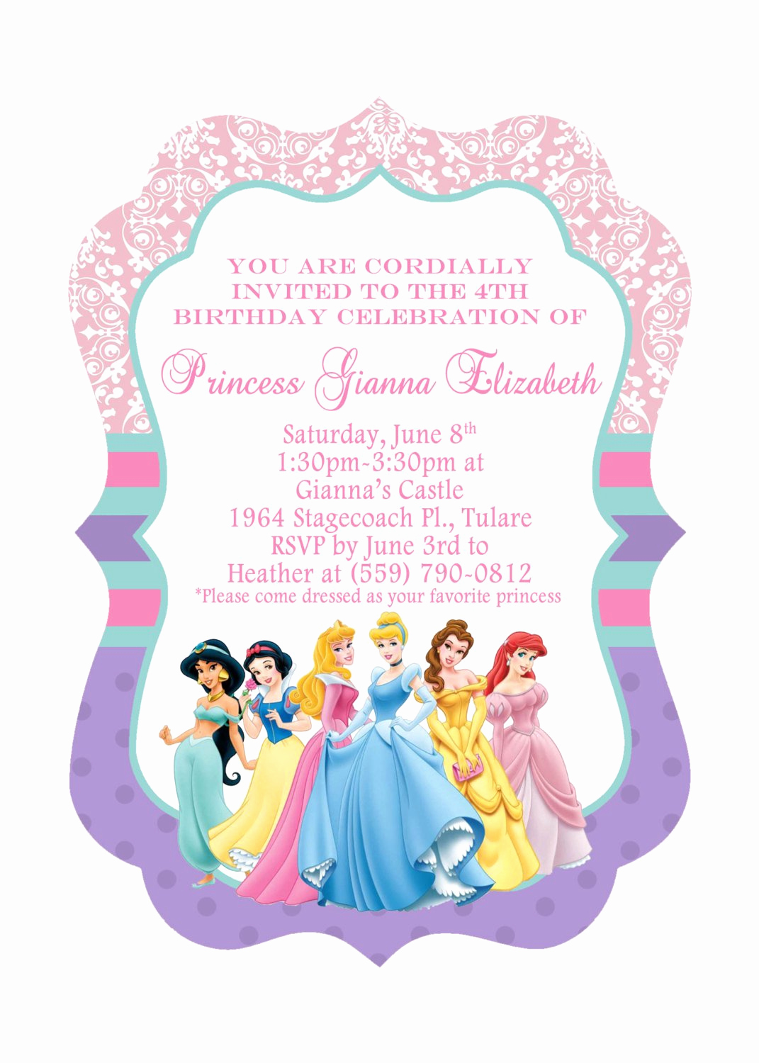 Princess Party Invitation Template Beautiful Disney Princesses Birthday Invitations Disney Princess
