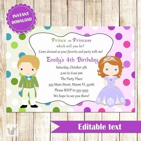 Princess Party Invitation Template Fresh Prince and Princess Invitation Green Purple Printable Kids