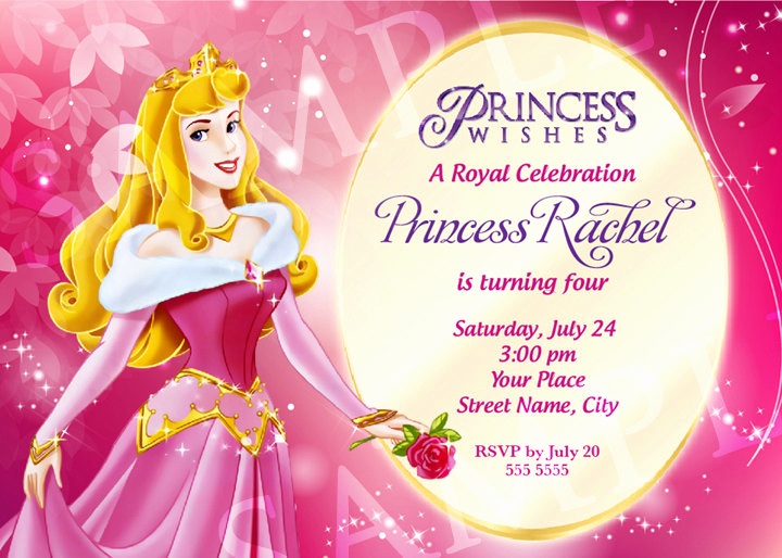 Princess Party Invitation Template Inspirational Aurora Princess Birthday Invitation Template by