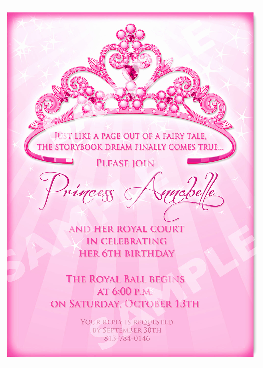 Princess Party Invitation Template Inspirational Princess Birthday Invitation Diy Princess by Artisacreations