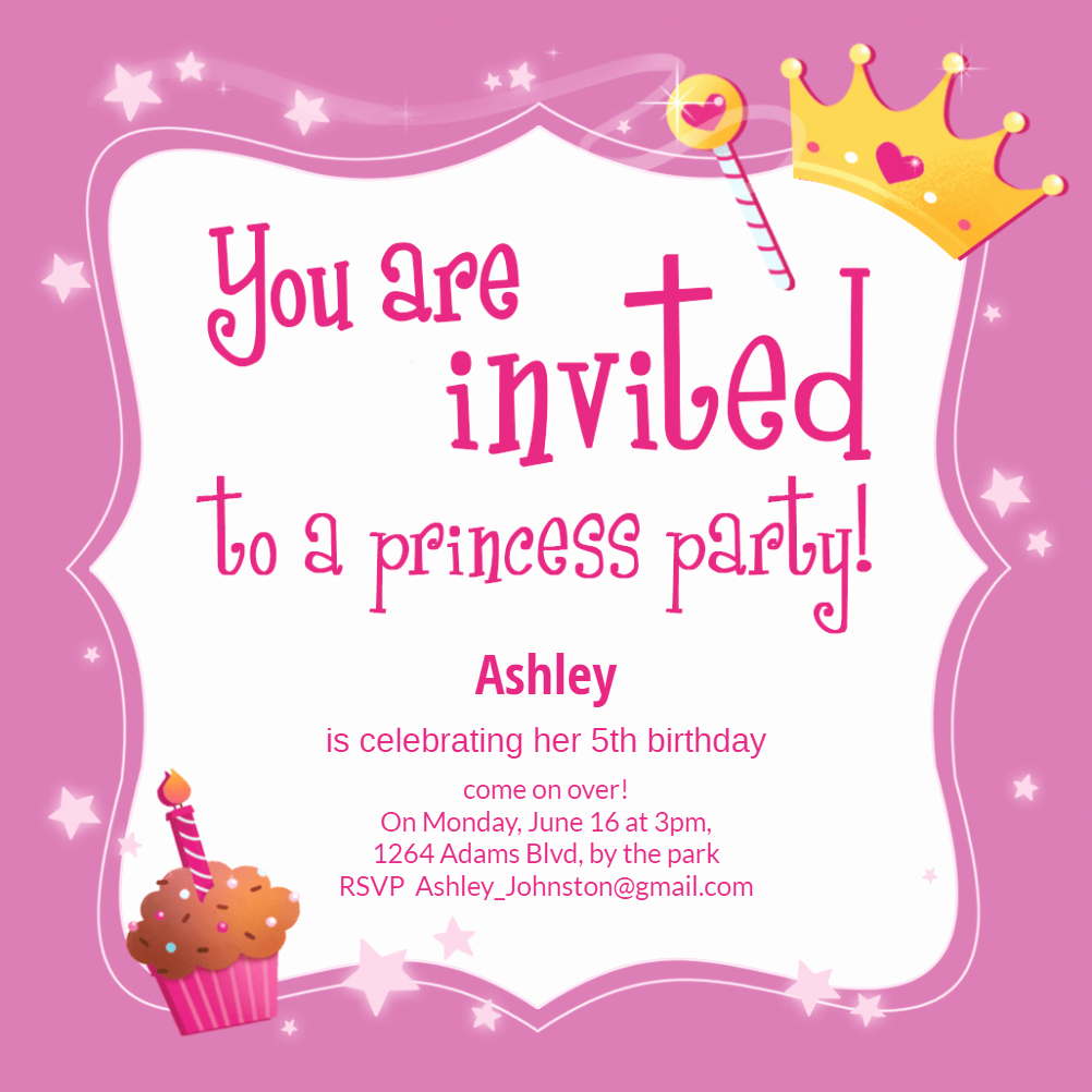 Princess Party Invitation Template Luxury Princess Magic Birthday Invitation Template Free