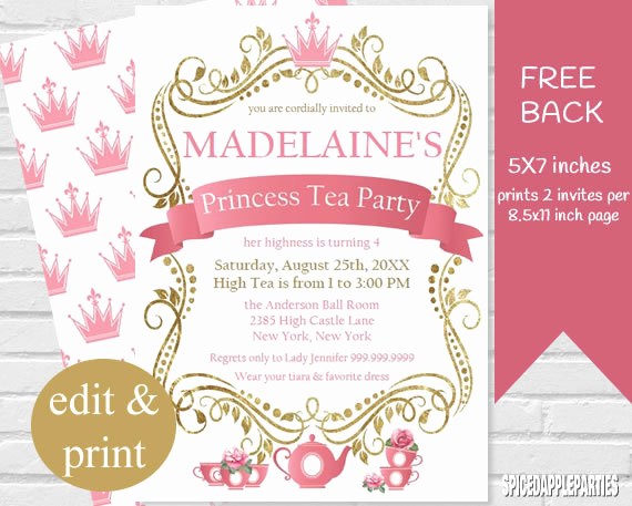 Princess Party Invitation Template Luxury Princess Tea Party Invitation Tea Party Princess Tea