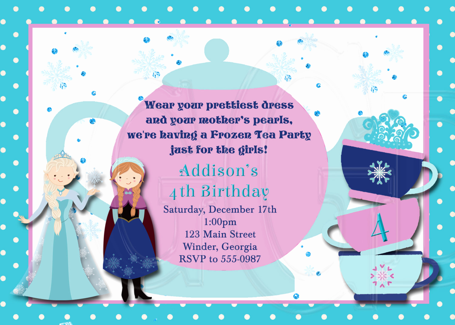 Princess Party Invitation Wording Awesome Ice Princess Tea Party Invitation Birthday Digital File