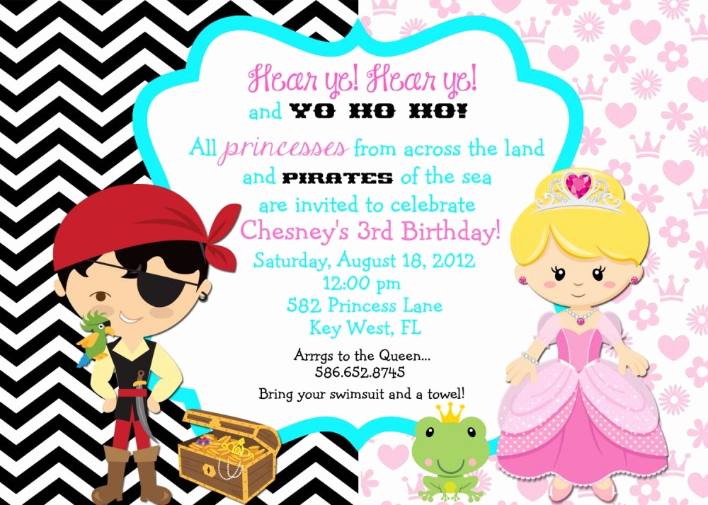 Princess Party Invitation Wording Awesome Princess and Pirate Party Invitation Wording