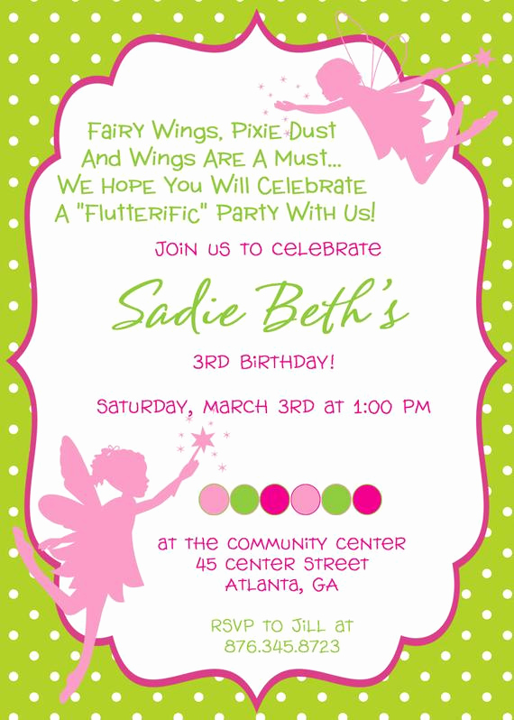 fairy princess birthday party invitation