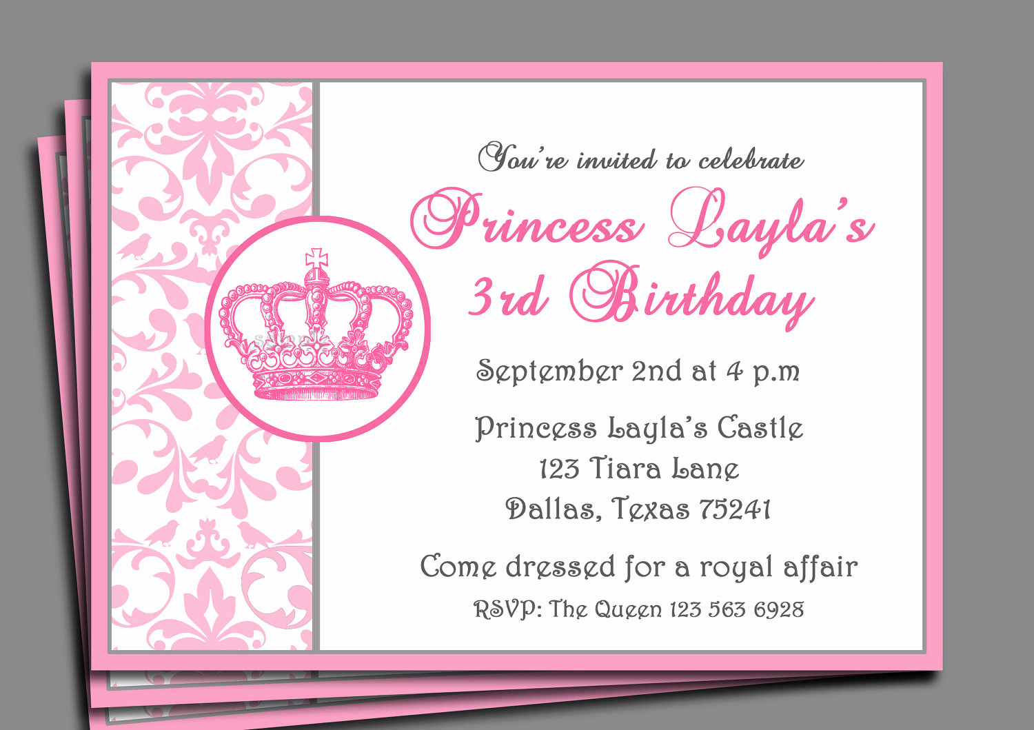 Princess Party Invitation Wording Beautiful Princess Party Invitation Printable or Printed with Free