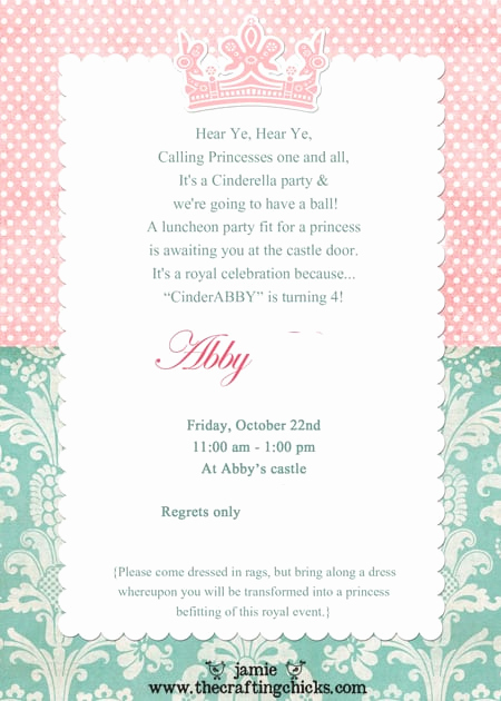 Princess Party Invitation Wording Beautiful Princess Tea Party Invitation