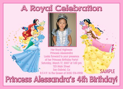 Princess Party Invitation Wording Best Of Custom Birthday Party Invitations Disney Princess