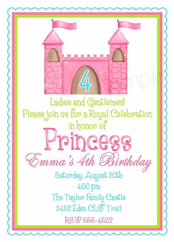 Princess Party Invitation Wording Fresh Items Similar to Princess Castle Invitations Fairy