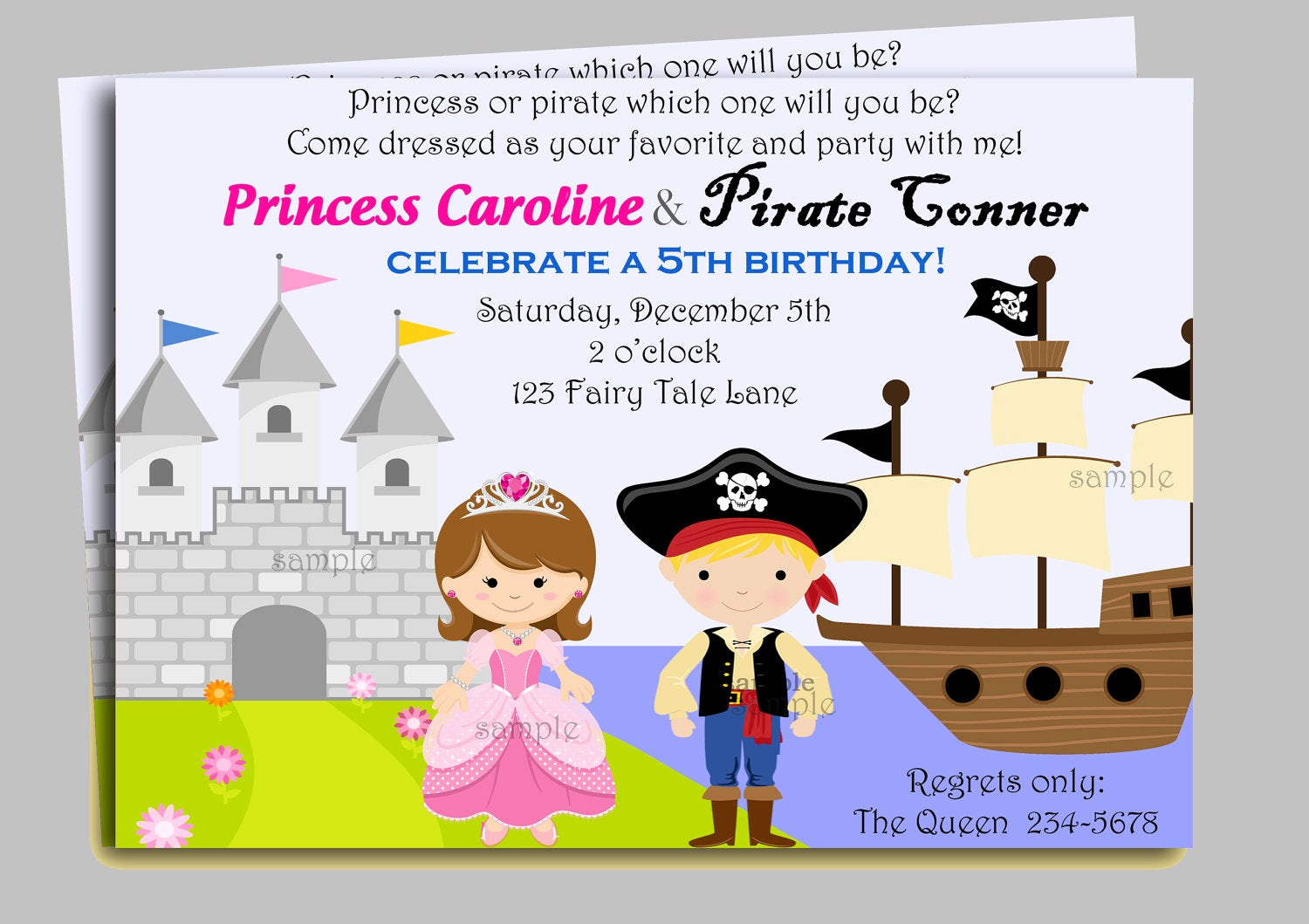 Princess Party Invitation Wording Fresh Pirate and Princess Invitation Printable or by thatpartychick