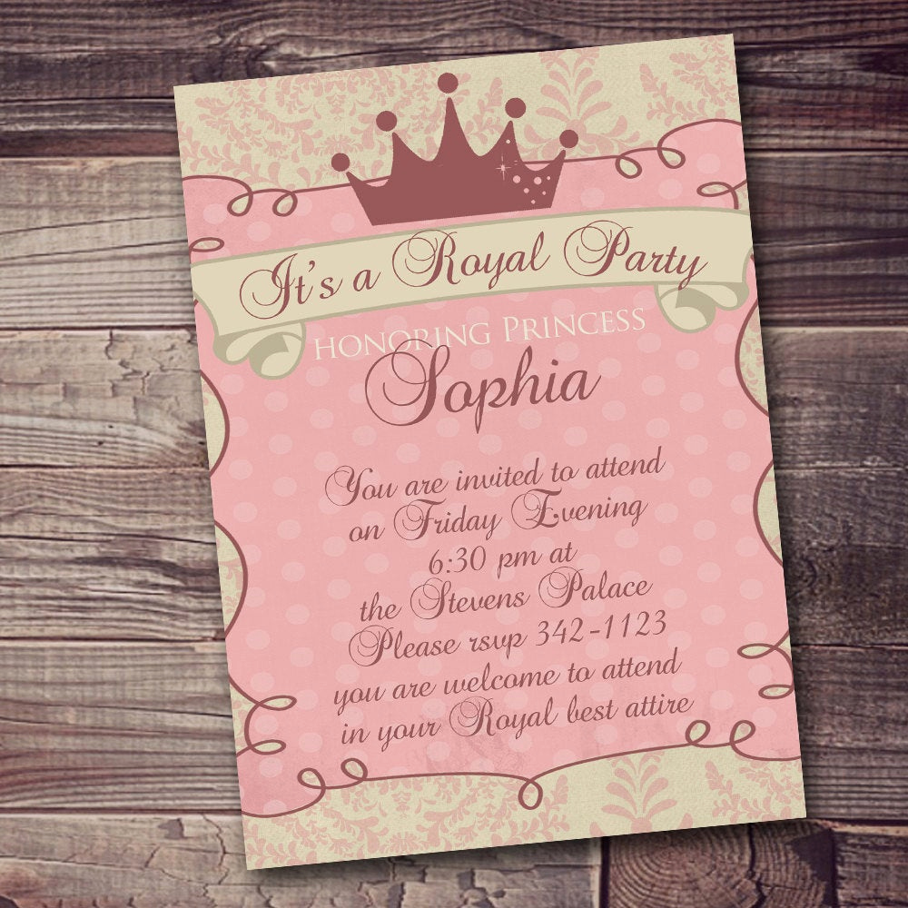 Princess Party Invitation Wording Lovely Princess Invitation Royal Party Gold Elegant with Free