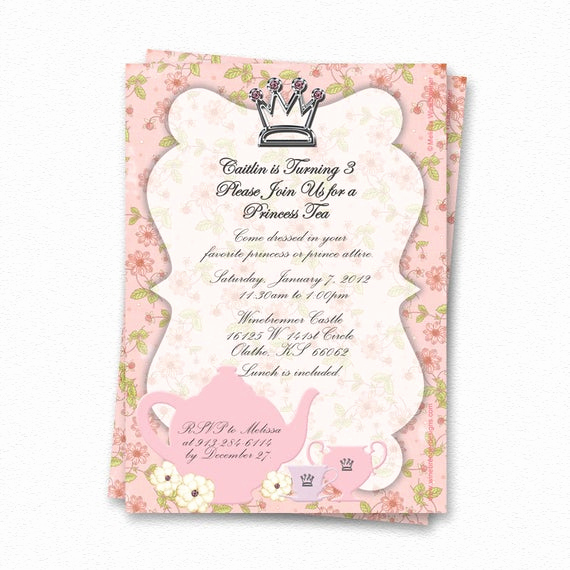 Princess Party Invitation Wording Luxury Items Similar to Custom Princess Tea Party Invitation On Etsy