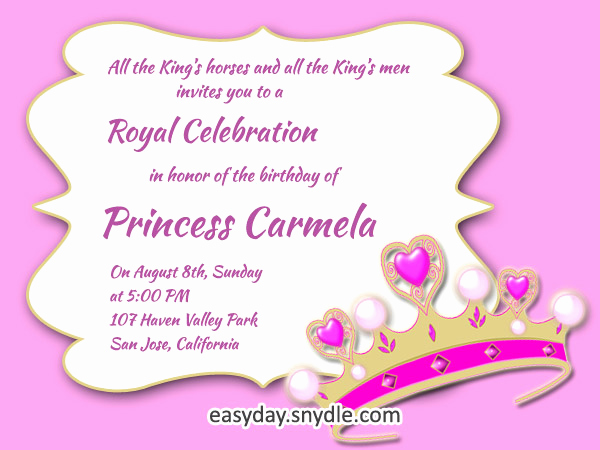 Princess Party Invitation Wording Luxury Princess Birthday Invitation Wording Samples and Ideas