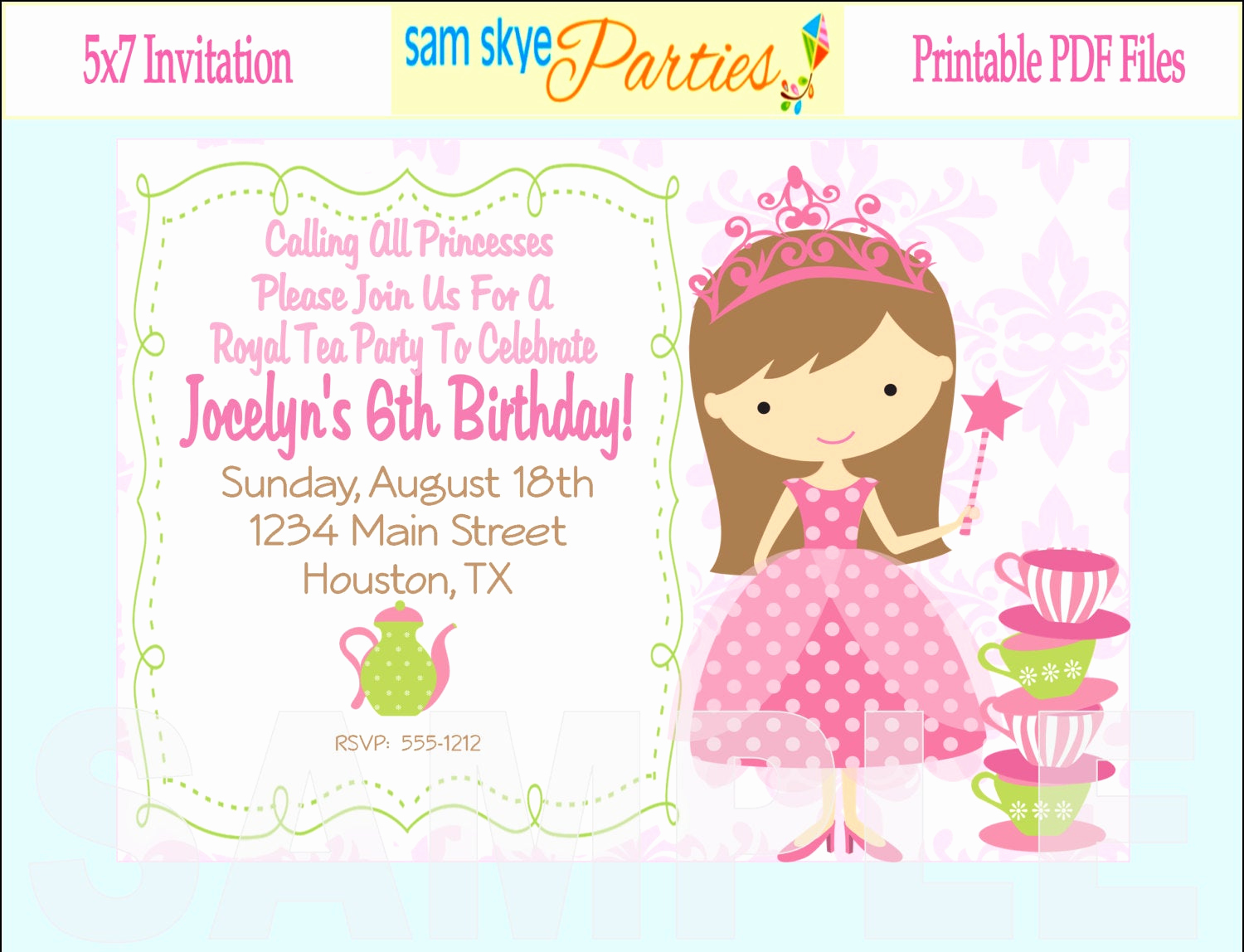 Princess Party Invitation Wording Luxury Princess Birthday Tea Party Invitation Tea by Samskyeparties