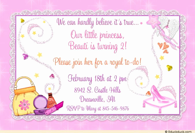 Princess Party Invitation Wording New Glass Slipper Birthday Invitation Princess Pampering