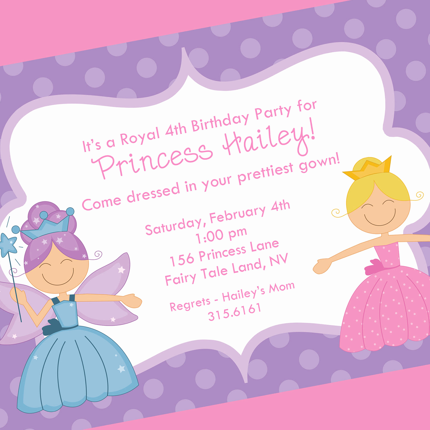 Princess Party Invitation Wording New Princess Birthday Invitation Printable Invitation Design