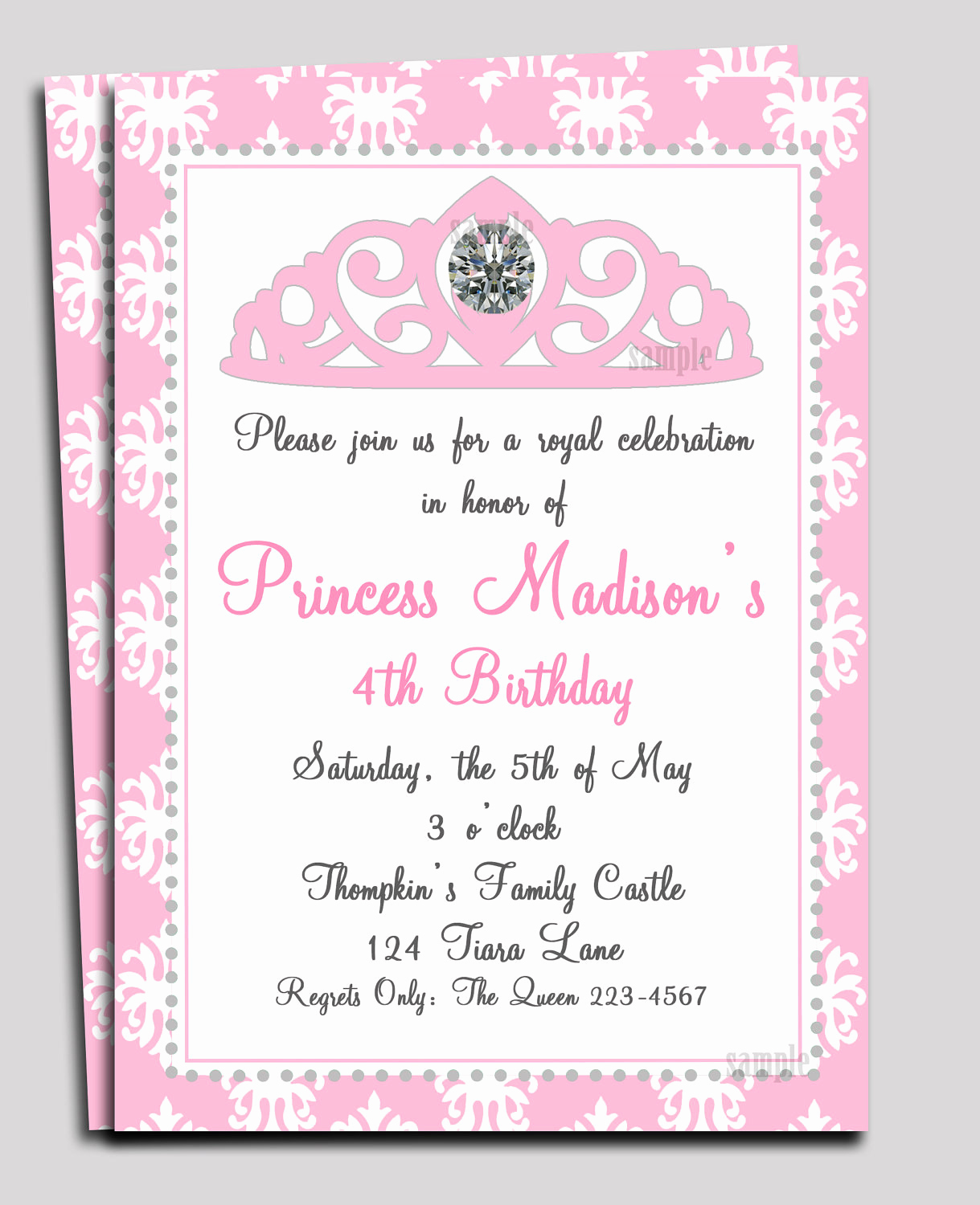 Princess Party Invitation Wording New Princess Invitation Printable or Printed with Free Shipping