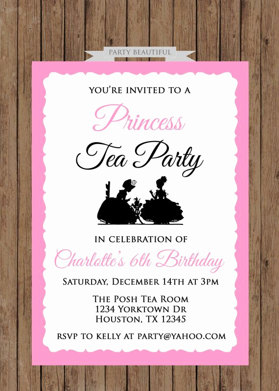 Princess Party Invitation Wording New Princess Tea Party Birthday Invitationgirls Pink by