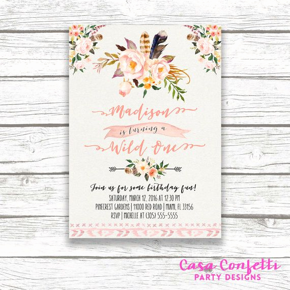Princess Tea Party Invitation Wow New Wild E Birthday Invitation Boho Birthday Invitation
