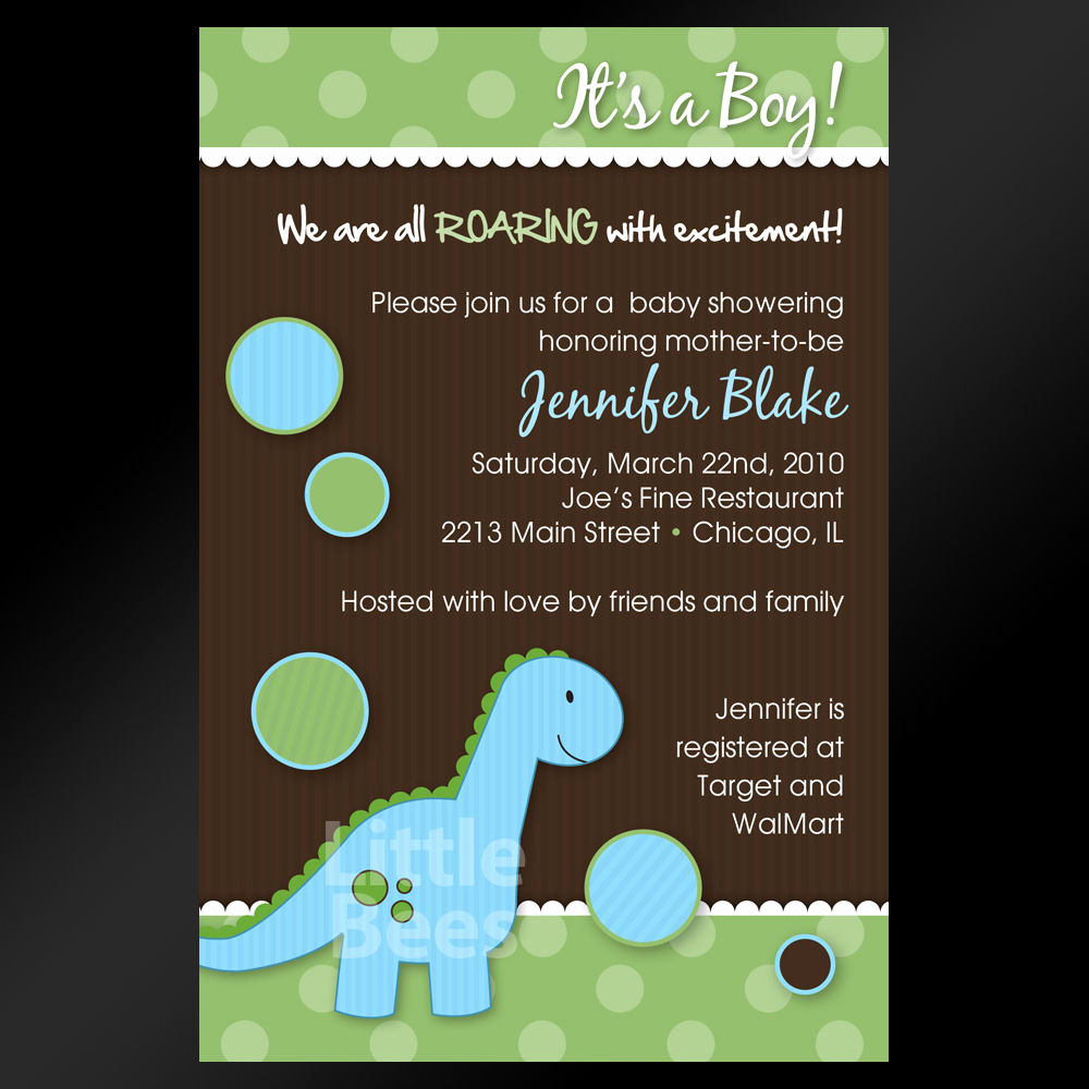 Printable Baby Shower Invitation Awesome Adorable Blue Dinosaur Printable Baby Shower or