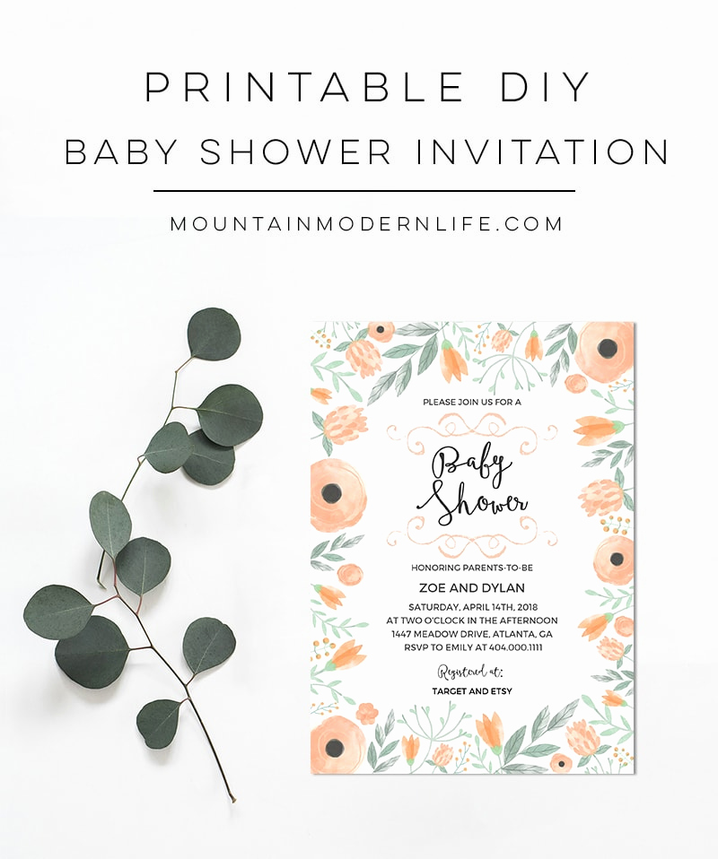 Printable Baby Shower Invitation Beautiful Printable Floral Diy Baby Shower Invitation