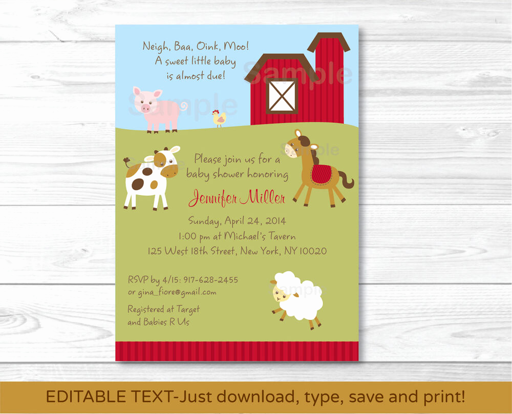 Printable Baby Shower Invitation Best Of Farm Animals Printable Baby Shower Invitation Editable Pdf