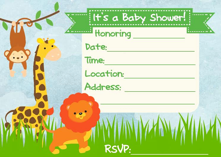 Printable Baby Shower Invitation Elegant Baby Shower Invitation Jungle theme Frugal Fanatic
