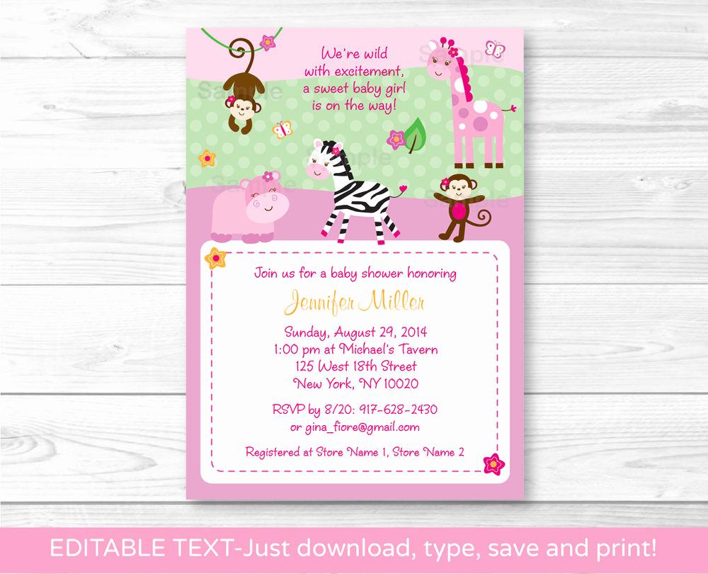 Printable Baby Shower Invitation Elegant Pink Safari Jungle Animals Printable Baby Shower