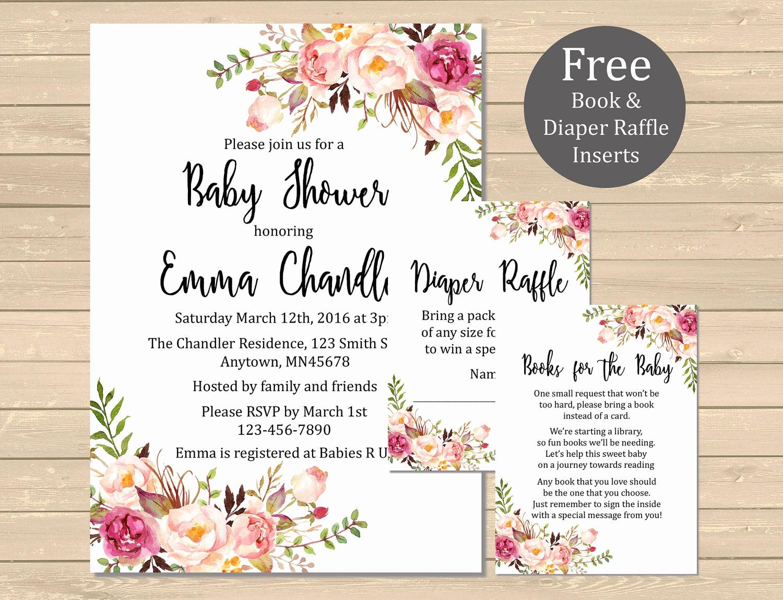 Printable Baby Shower Invitation Elegant Printable Boho Floral Baby Shower Invitation Book Insert
