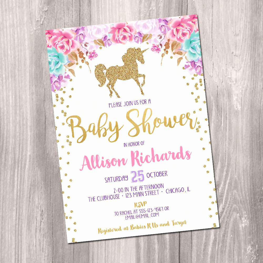 Printable Baby Shower Invitation Elegant Unicorn Baby Shower Invitation Girl Baby Shower Invitation