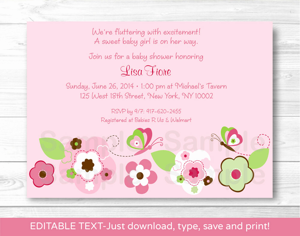 Printable Baby Shower Invitation Inspirational Pink butterfly Flower Garden Printable Baby Shower