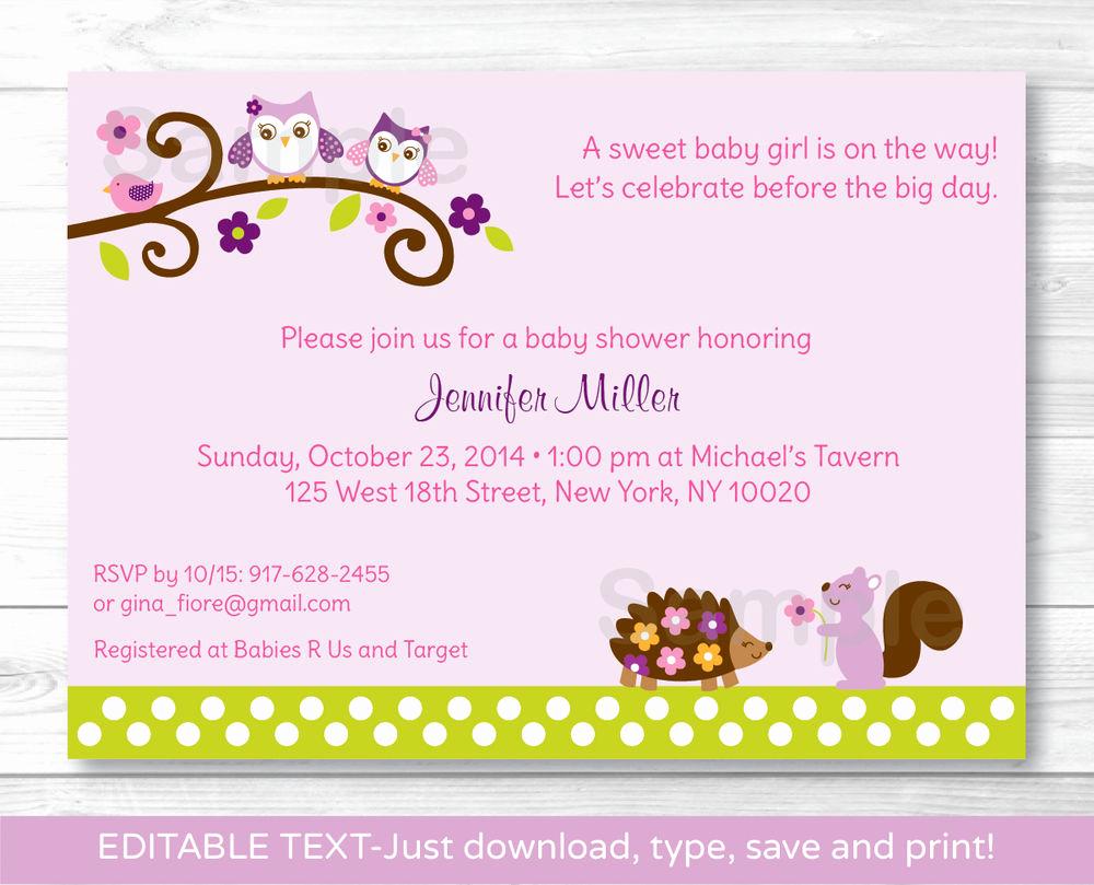 Printable Baby Shower Invitation Lovely Girl Owl Woodland forest Friends Printable Baby Shower