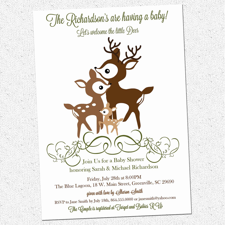 Printable Baby Shower Invitation Luxury Printable Deer Family Baby Shower Invitation Woodland