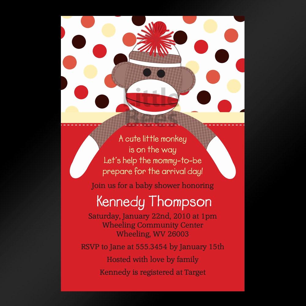 Printable Baby Shower Invitation Luxury sock Monkey Printable Baby Shower Invitation Printable