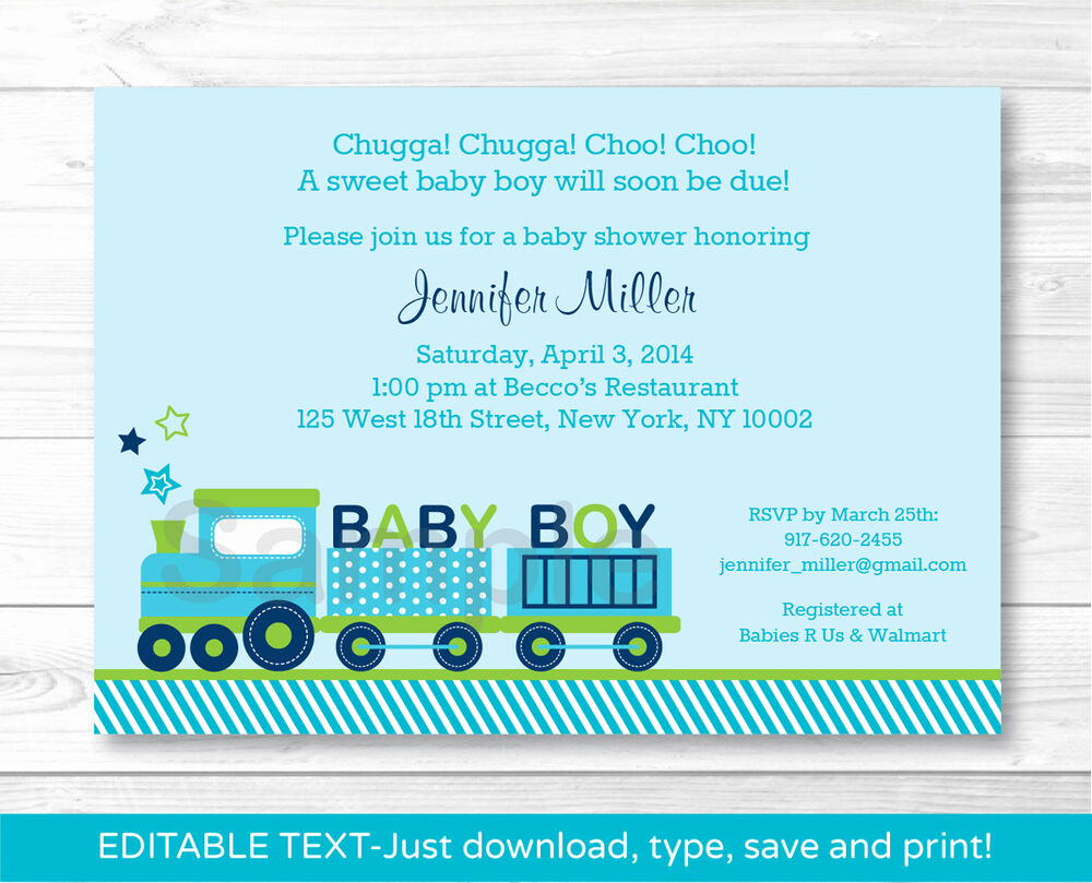 Printable Baby Shower Invitation New Green Choo Choo Train Baby Boy Printable Baby Shower