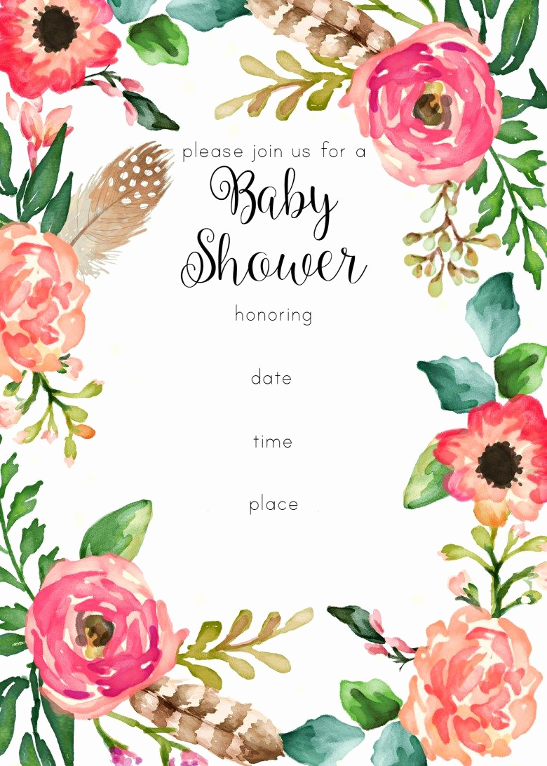 Printable Baby Shower Invitation Templates Lovely Free Printable Floral Shower Invitation