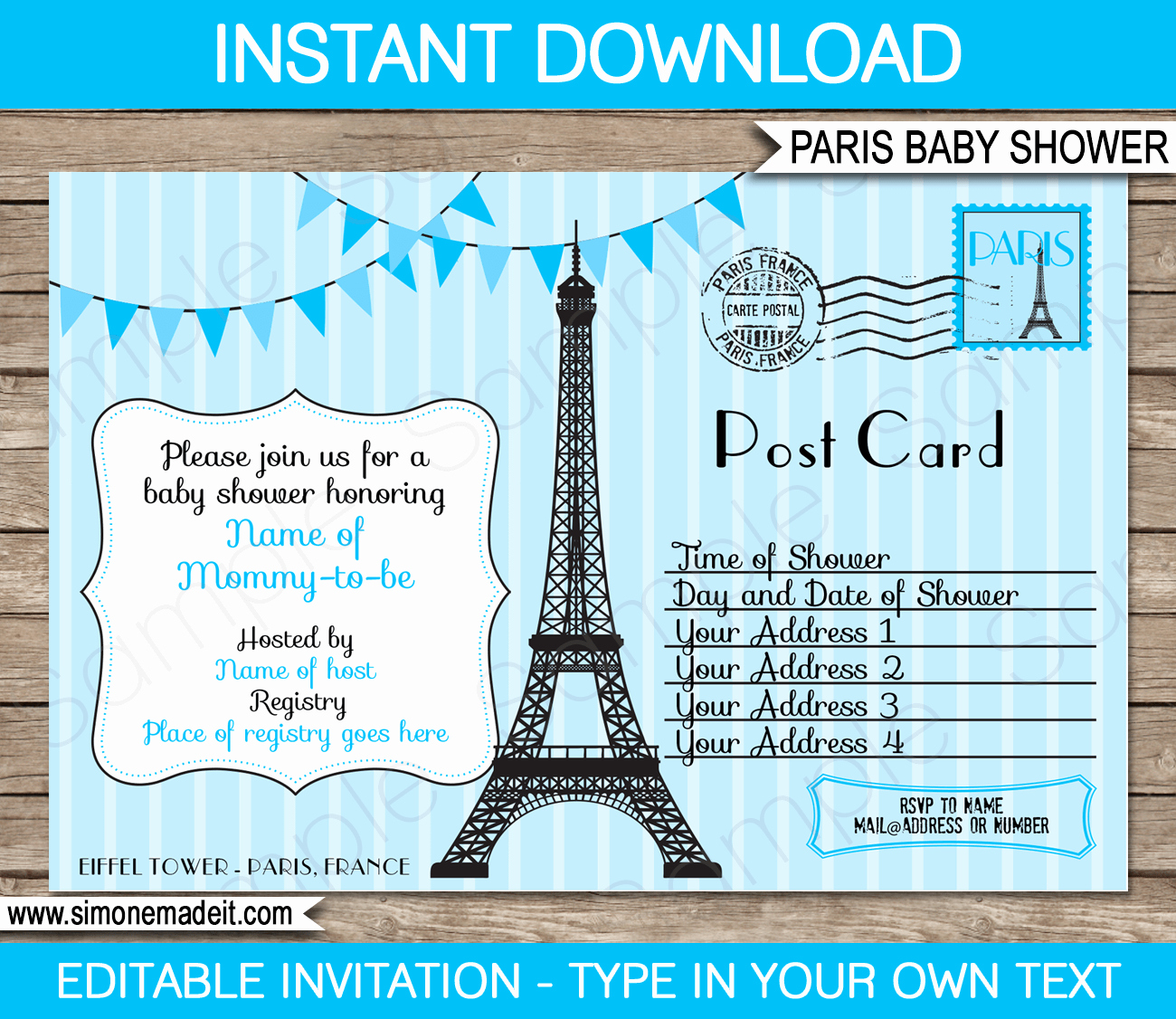 Printable Baby Shower Invitation Templates Unique Blue Paris Baby Shower Invitation