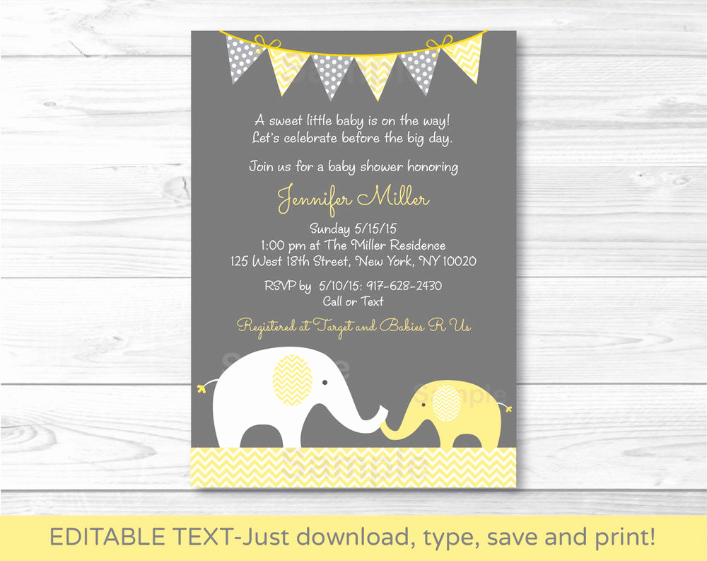 Printable Baby Shower Invitation Unique Yellow Chevron Elephant Mom & Baby Printable Baby Shower